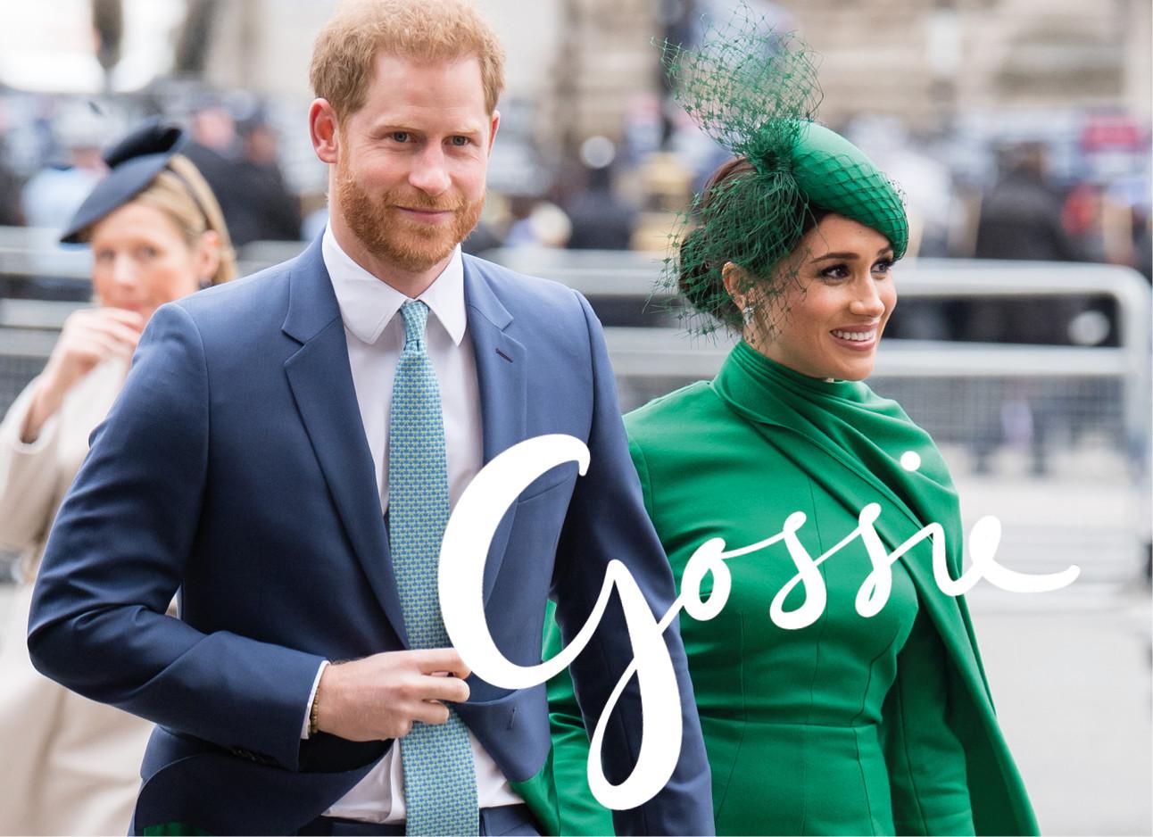 Meghan markle en prins harry lopend over straat in groene outfit