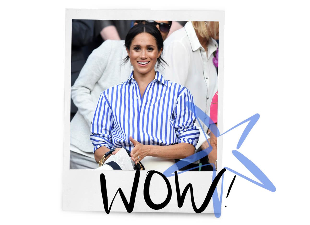 meghan markle in blauw gestreepte blouse
