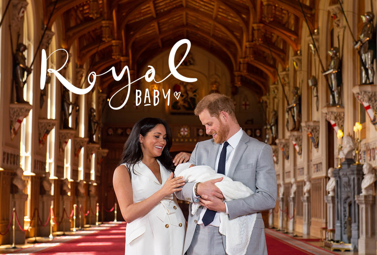 Meghan Markle Prince harry en Baby Archie Sussex tijdens bekendmaking