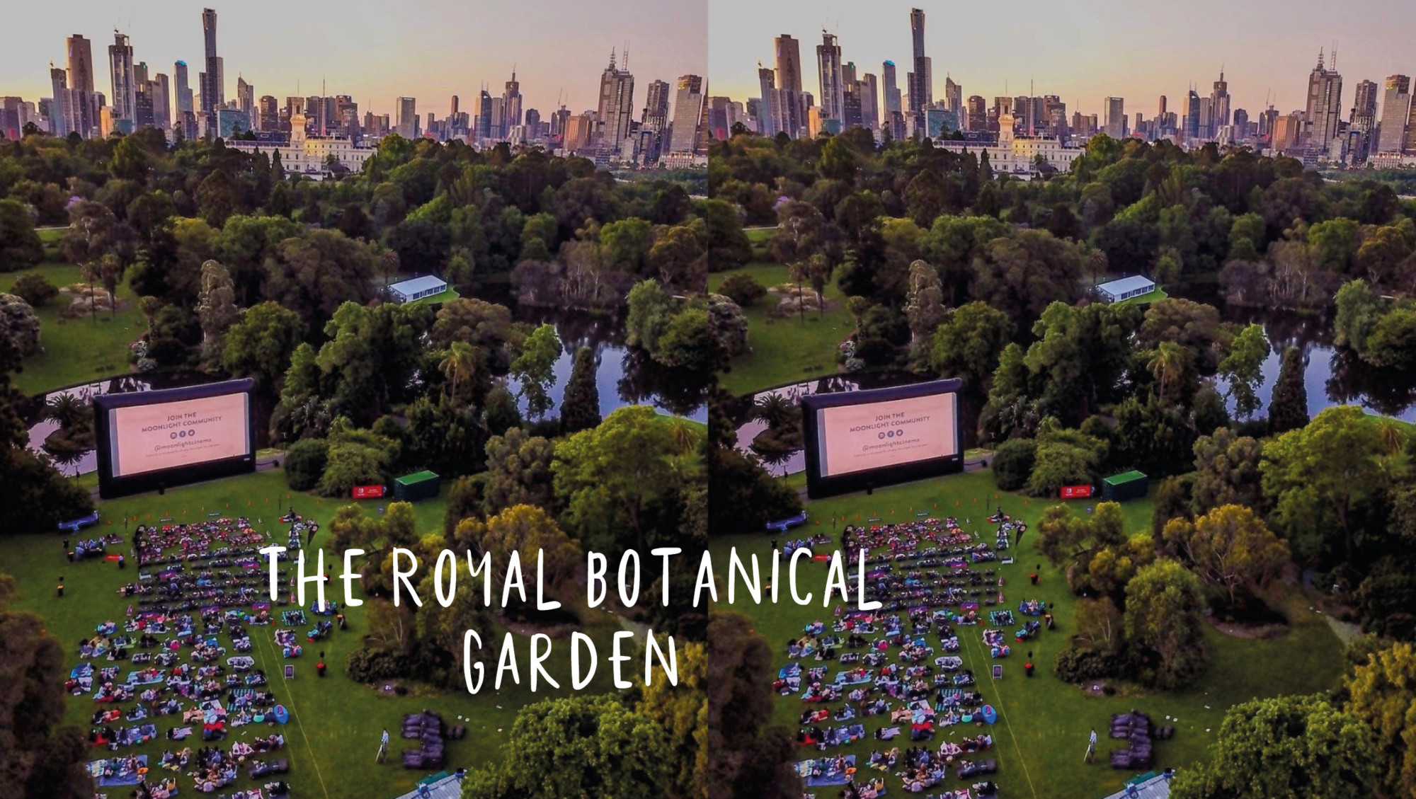 royal botanical garden met moonlight cinema in melbourne australia