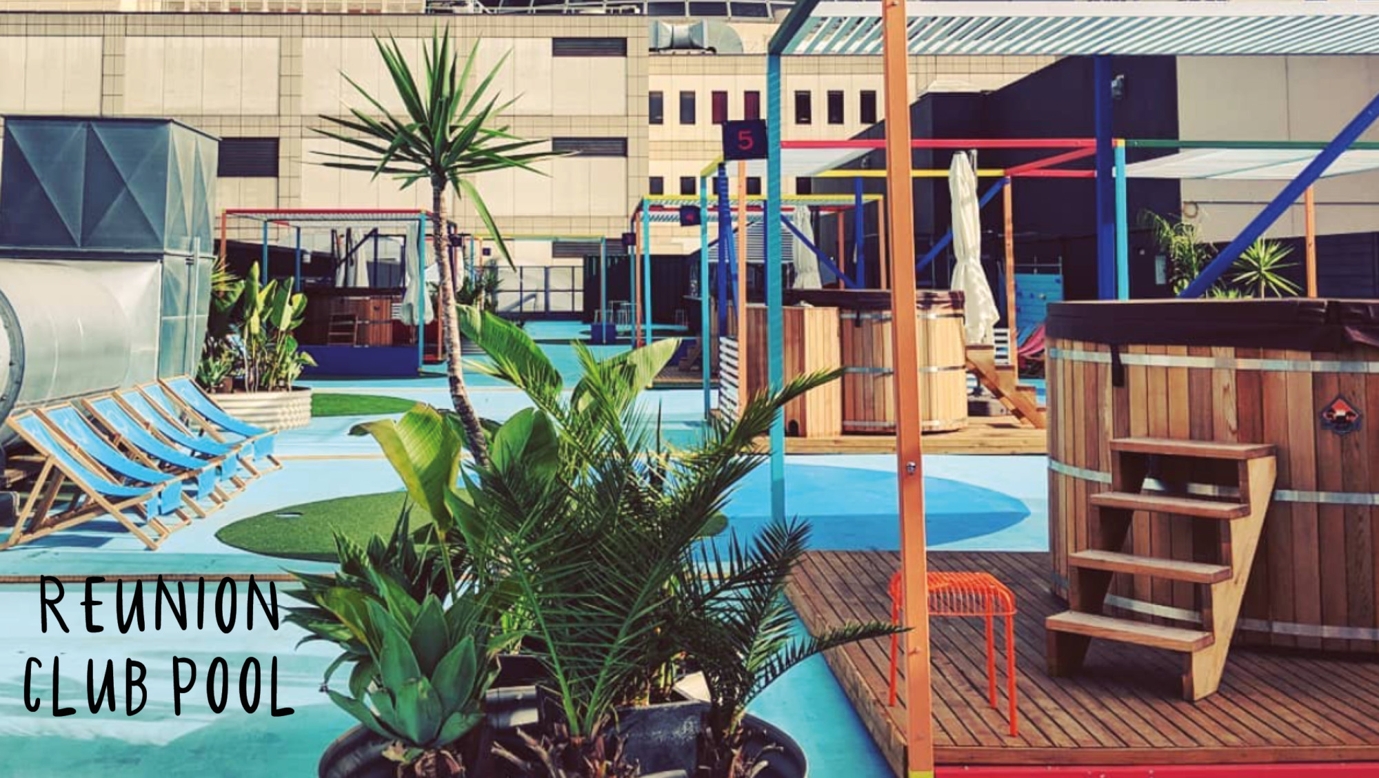 rooftop bar pool club palm trees in melbourne australia