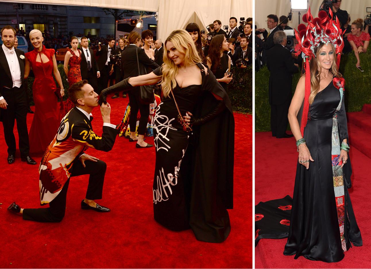 beelden van iconische momenten van het jaarlijke MET gala