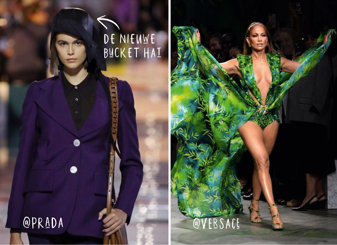 jlo en een model van de prada mode show