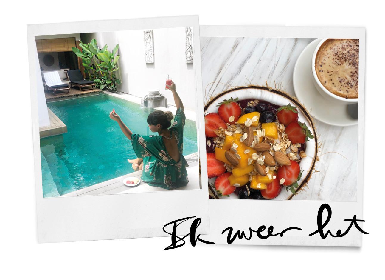 kiki in cangu op bali, acaibowl in een kokosnoot en koffie, zwembad, uitzicht