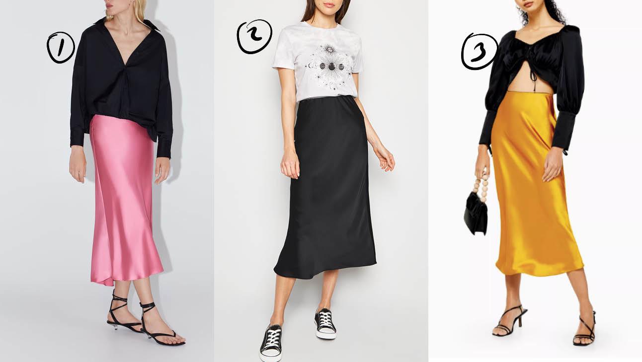 Op de foto staan 3 meiden de een draagt een roze rok met zwarte top, de andere een zwarte rok met witte top, en de laatste een gele rok met een zwarte top
