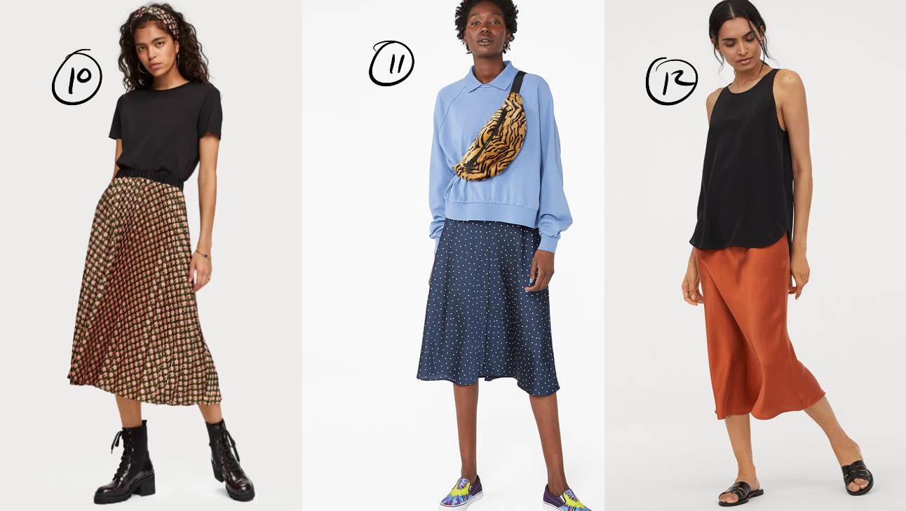 er staan 3 meiden op, de een draagt een bruine rok met een zwarte top en dr.martens, de tweede draagt een blauwe rok met een lcihtblauwe top, en de laatste draagt ee baksteen kleurige rok met een zwarte top