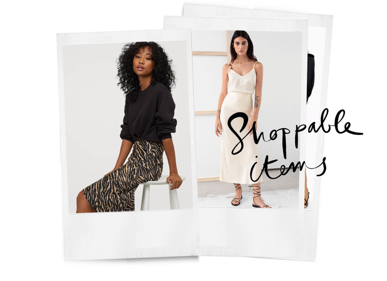 Op de foto staan 2 meiden in polariods, ze dragen zijnde rokken, een daarvan is wit met een witte top, en de andere rok is een tijgerprint met een zwarte top, verder staat de tekst inspiration er nog op
