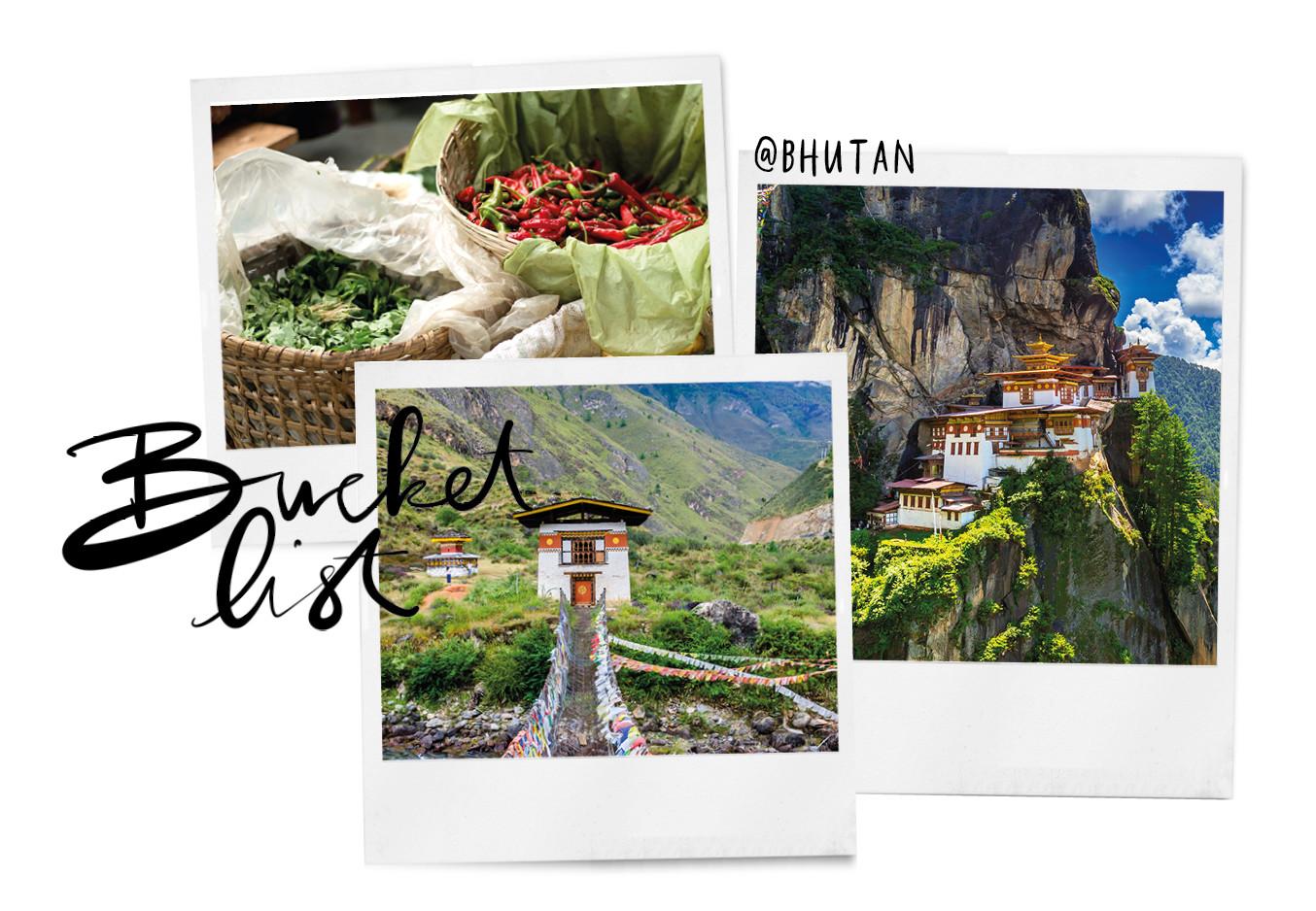 verschillende foto's van Bhutan. 1 met eten, 1 met een bruk naar een huisje en 1 met een klooster in de bergen