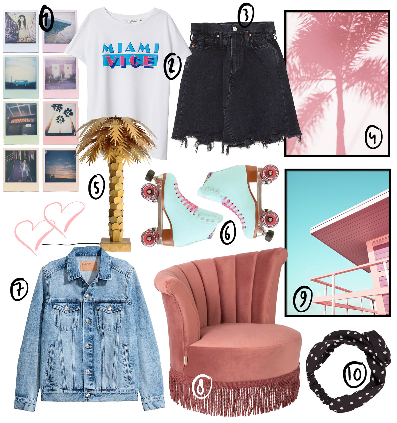 Musthaves miami items zoals polaroids, desenio posters en een palmboomlamp
