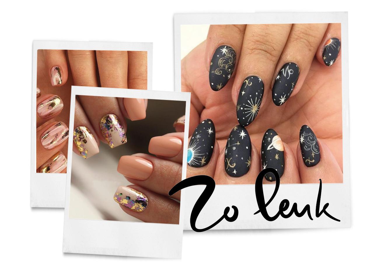 handen met gekleurde nagellak met glitters en sterretjes