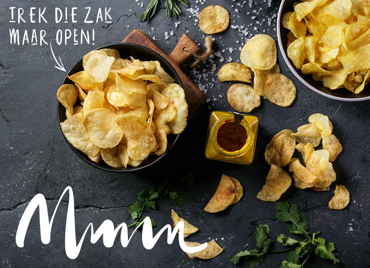 naturel chips in een bakje