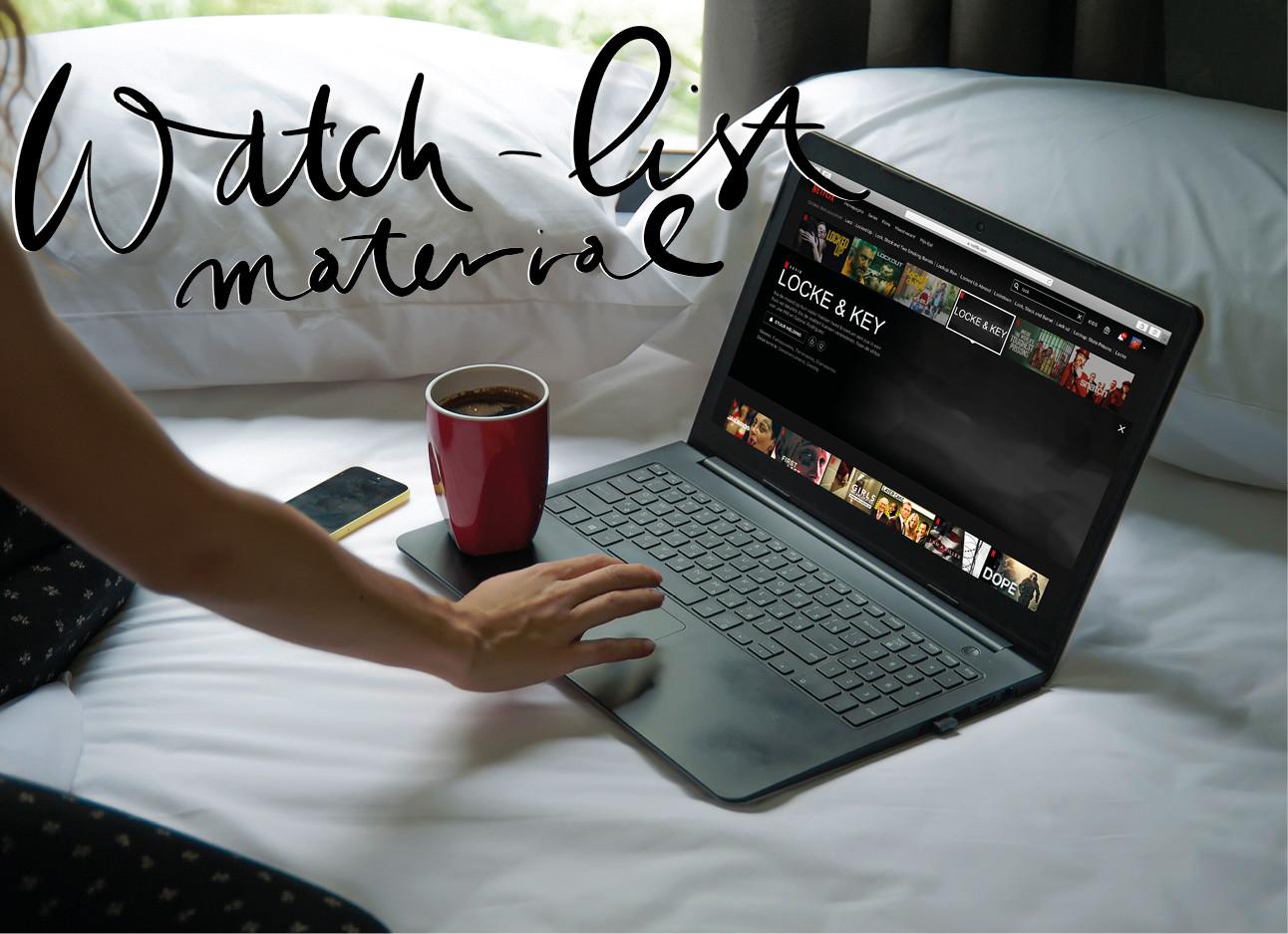 een meijse dat achter haar laptop zit en netlfix kijkt