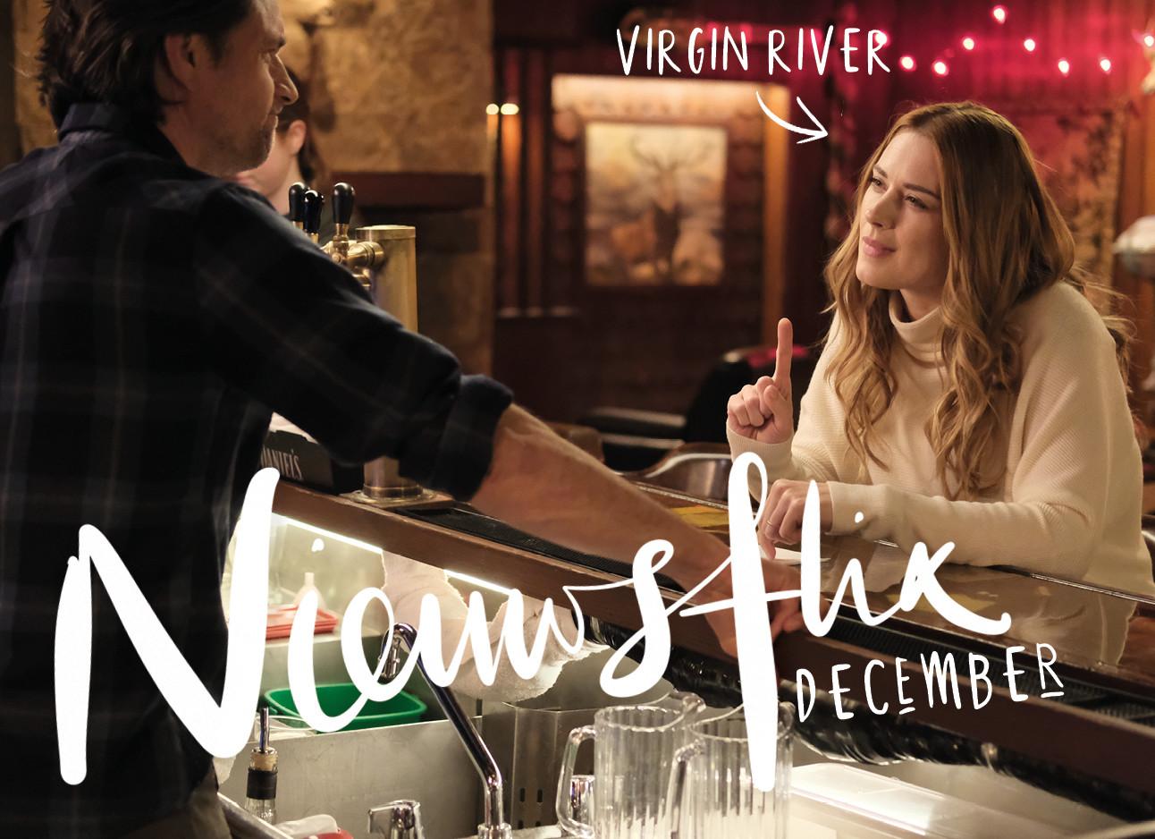 beeld uit de serie virgin river waar een vrouw aan de bar zit en een drankje besteld