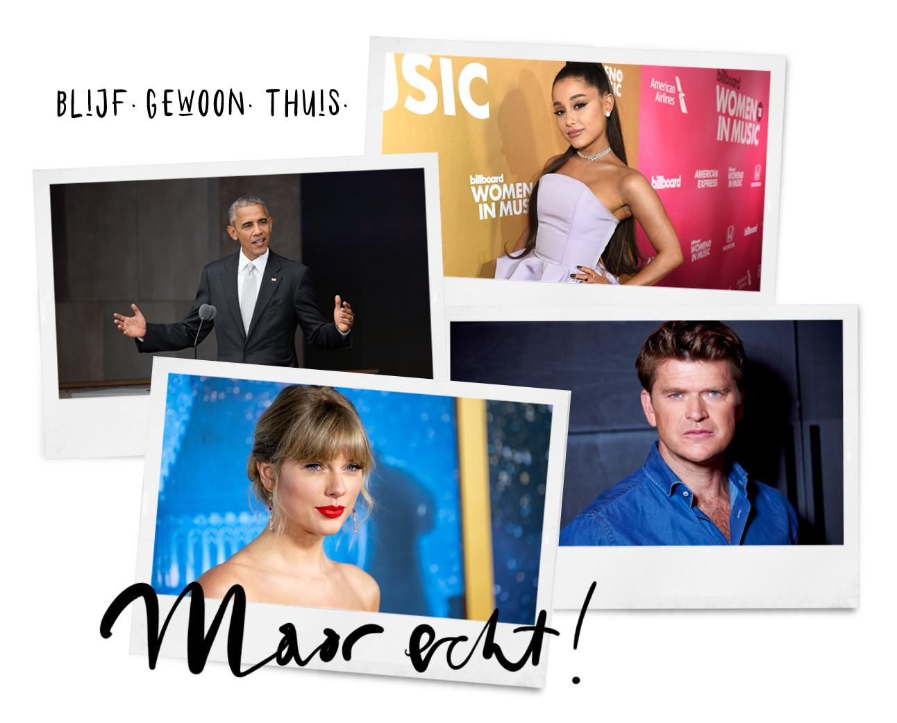 Barack obama, Taylor Swift, Ariana Grande, Beau van erven dorens