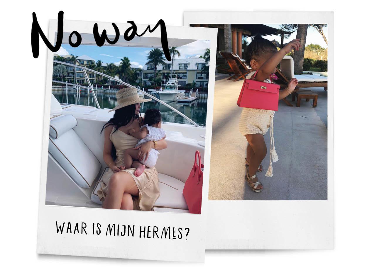 Kylie Jenner en Stormi dochter van haar op een boot met een roze hermes tas