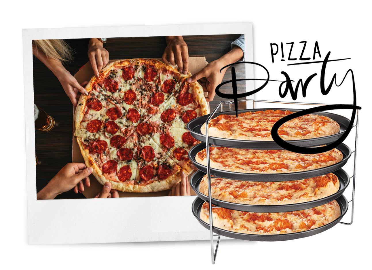 pizza ovenrek van Aldi mensen die pizza eten meerdere op elkaar