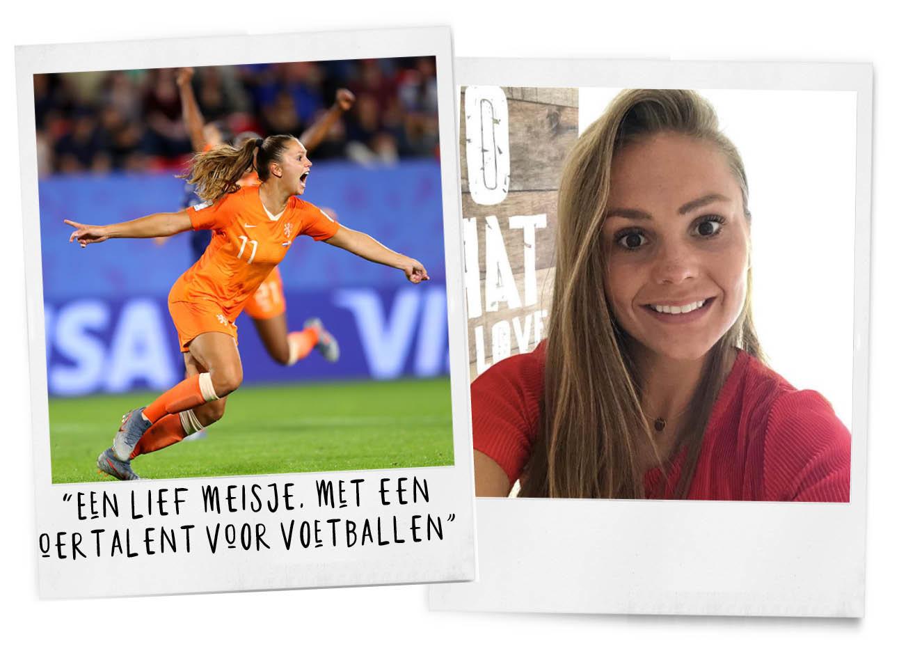 lieke martens aan het voetballen in oranje tenue en een selfie in een rode top