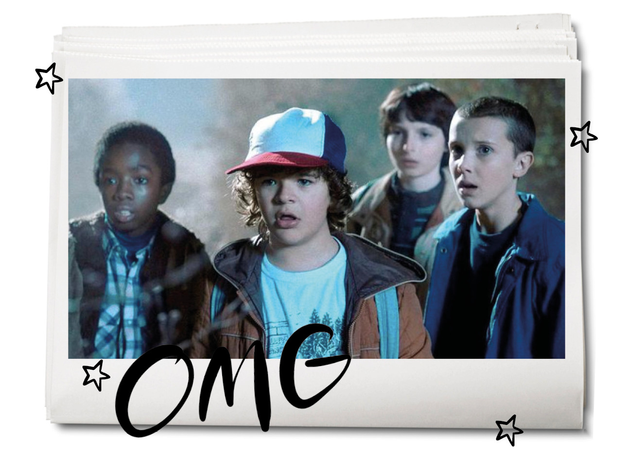cast van stranger things in seizoen 1 will, eleven, dustin met een pet op, mike, lucas