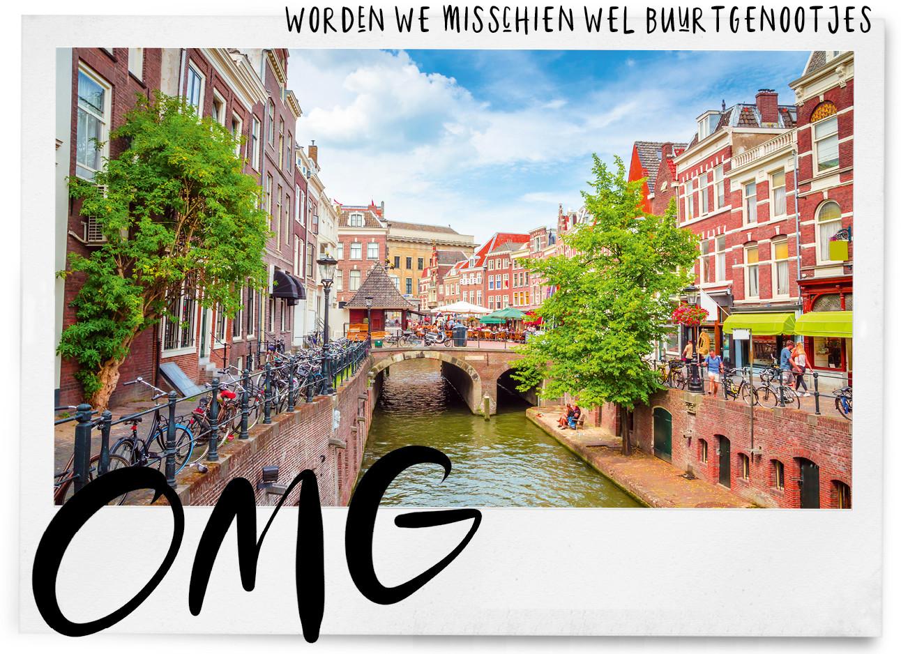 Eeen beeld van de stad Utrecht, een gracht en wat bruiine huizen met fel groene bomen