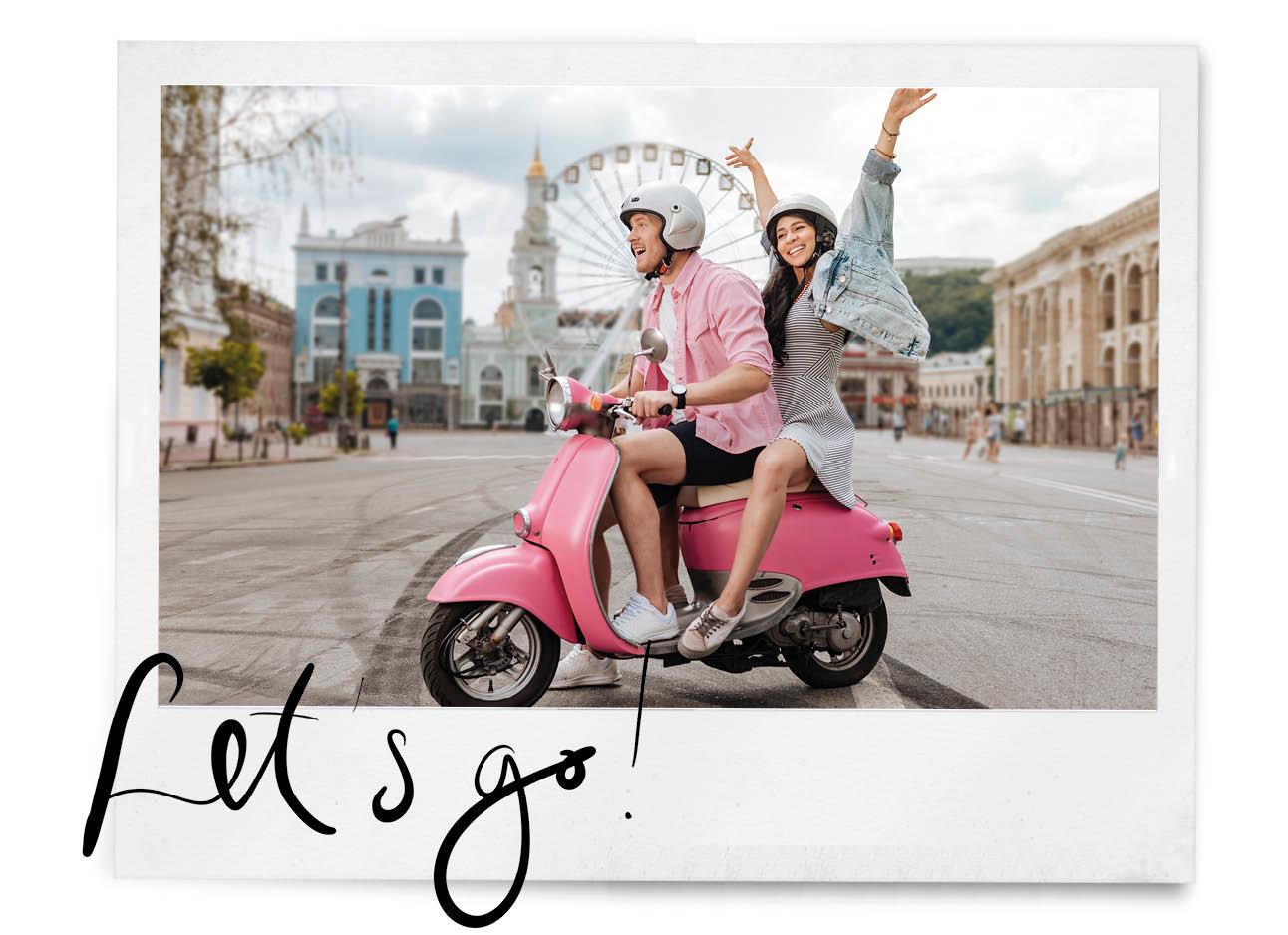 man en vrouw op een scooter