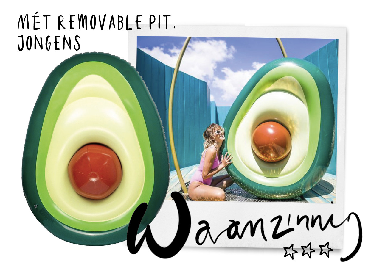 inflatable avocado with removable pit, om in de zomer rond te dobberen, swimming pool