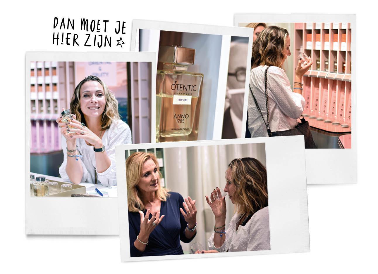 May_Britt in de winkel van Otentic, ze staat voor een roze stelling met een mevrouw in het blauw en houdt parfum flesjes vast