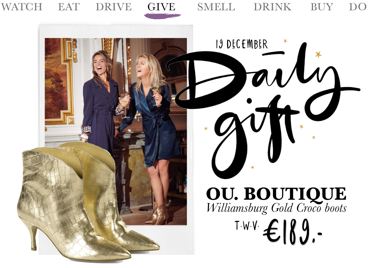 Today we give: OU. Boutique Williamsburg Gold Croco boots