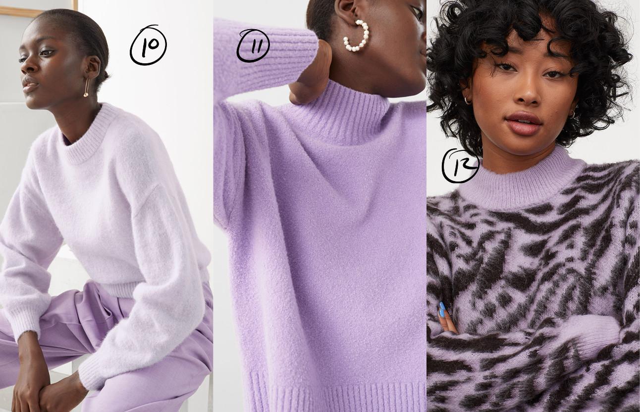 meiden die pastel lila kleurige truien maken