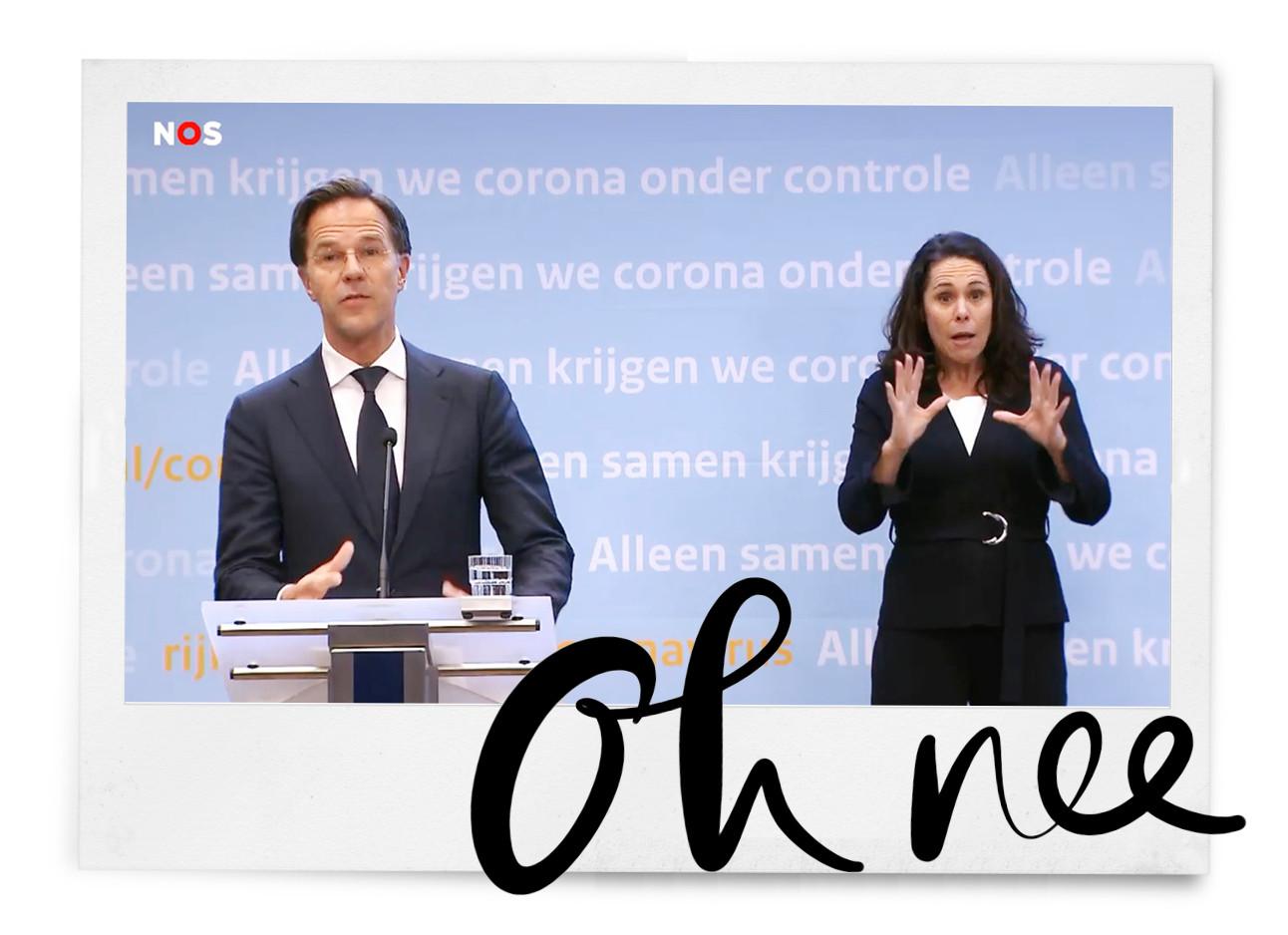 persconferentie Rutte en Irma kijkend naar camera geschokken