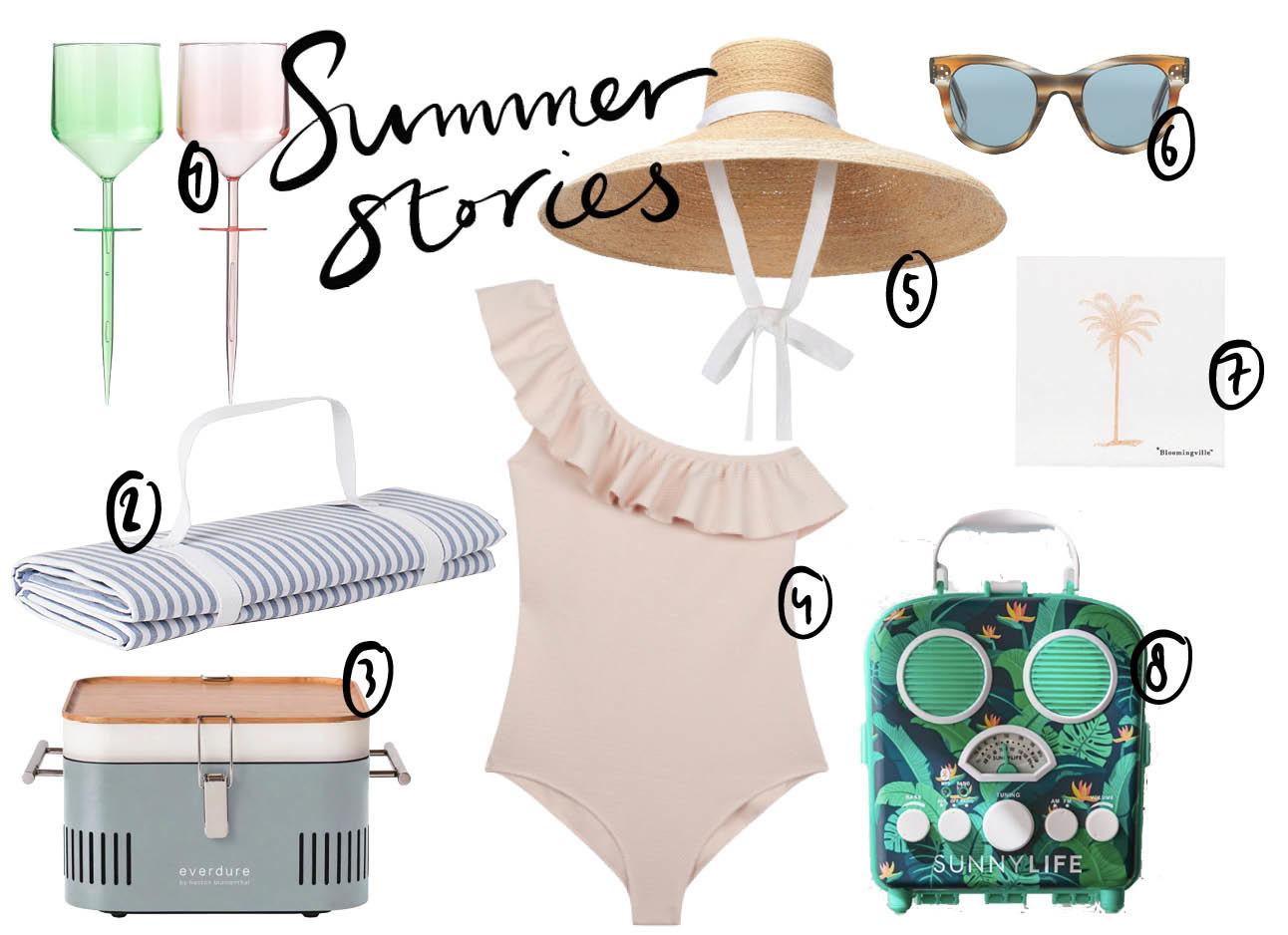 Picknick shopping badpak, kleed, glazen, hoed, zonnebril, bbq, box