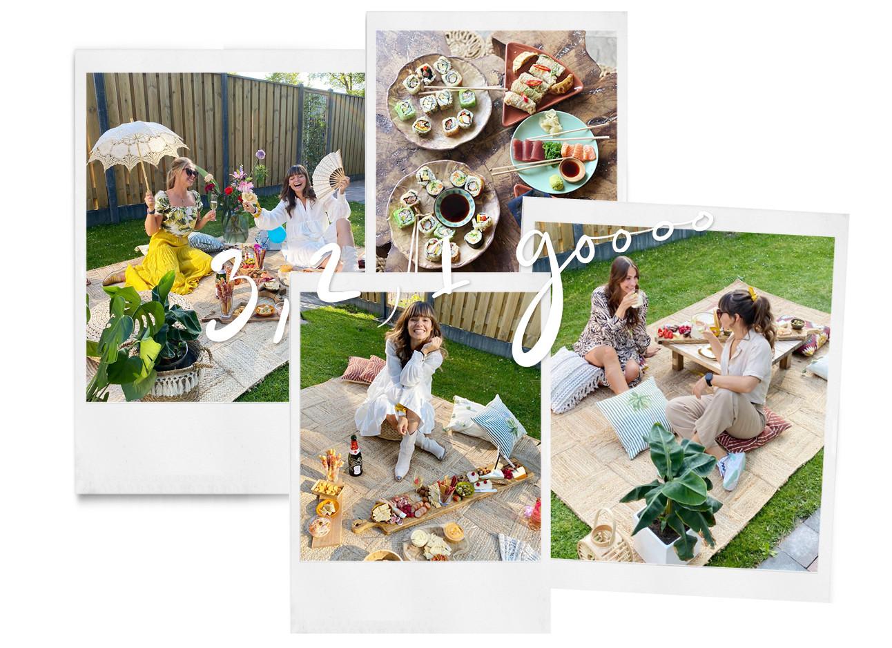 kiki lachend in haar tuin met een grote picknick kleed en houten plank lekkere hapjes