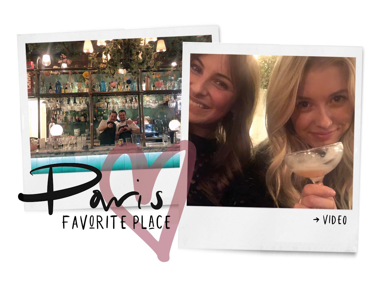 Pink mamma Paris cocktails restaurant in Parijs lilian lachend naar de camera met een cokctails in haar hand en twee lachende barmannen
