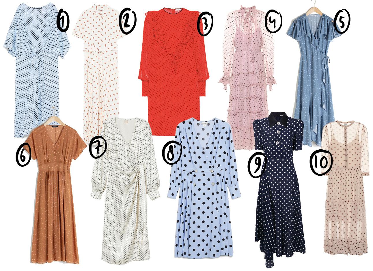 shopping polka dresses