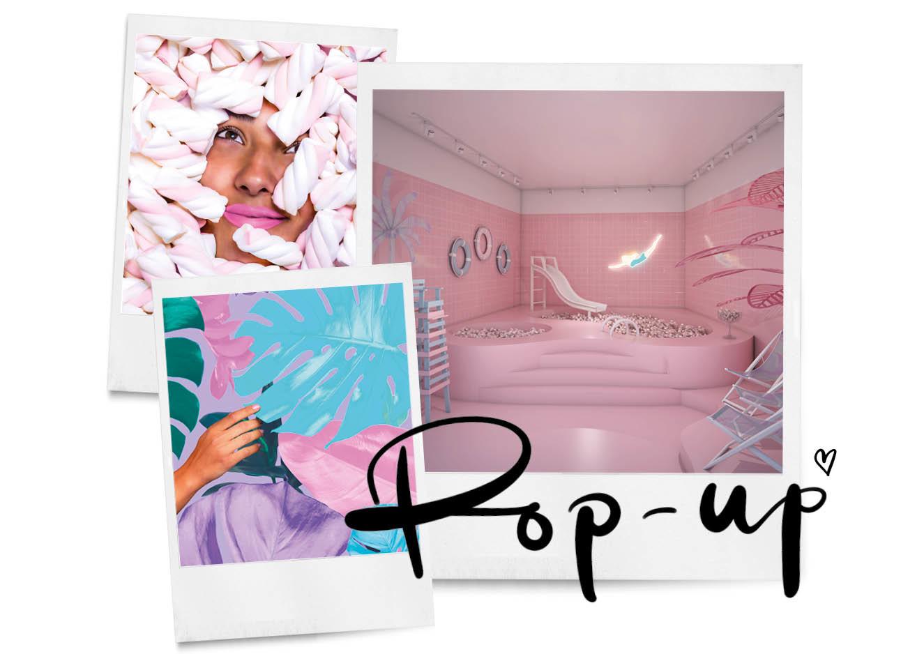 pop up restaurant Wondr amsterdan noord roze gekleurde ruimtes met snoep en spekjes