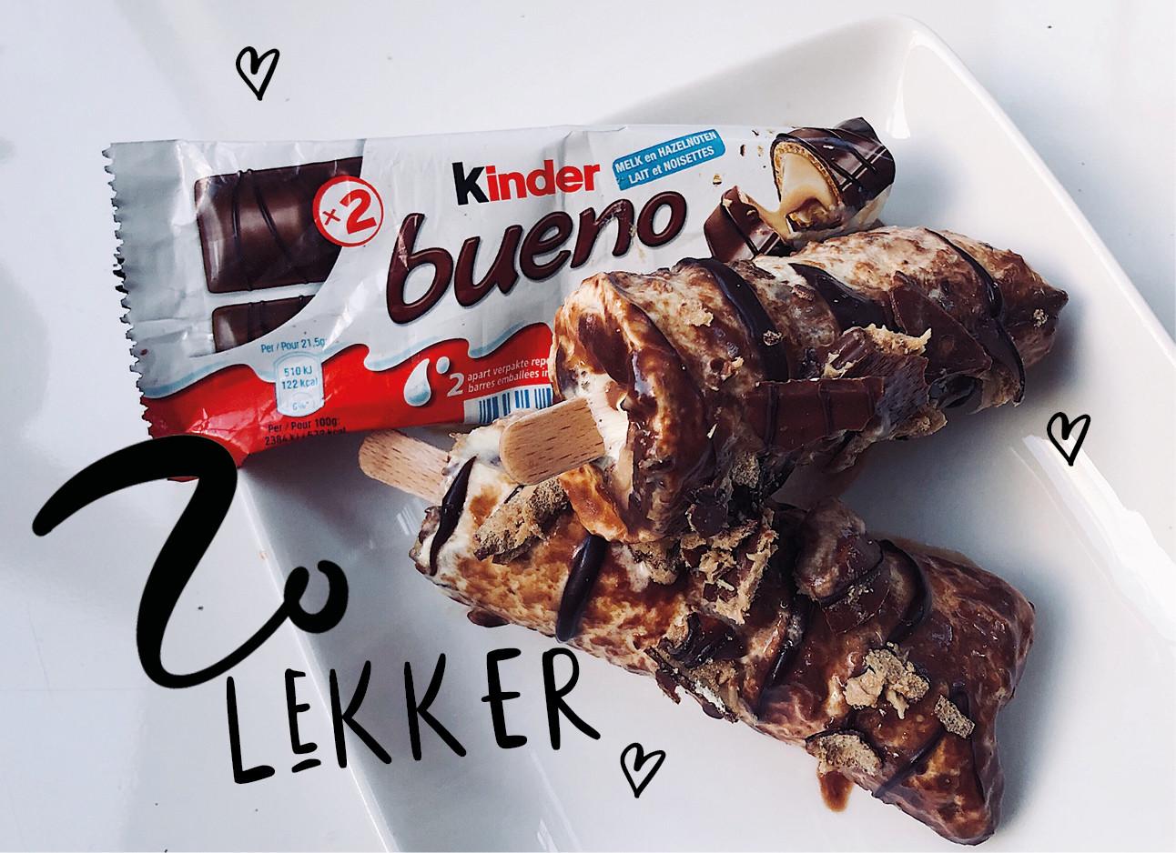 zelfgemaakte ijsjes van kinder bueno's en room chocola puur en melk met tekst zo lekker en hartjes eromheen