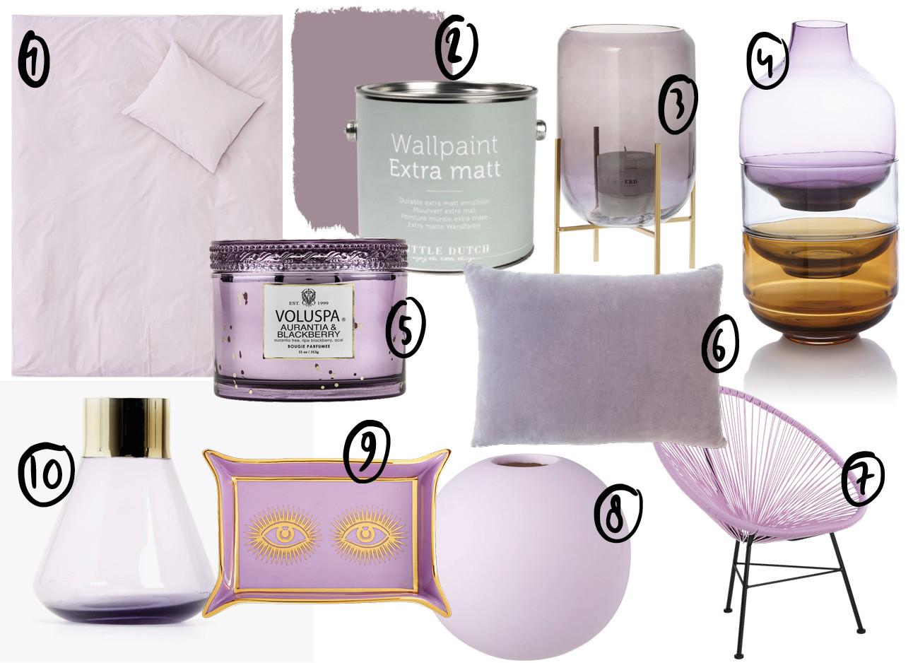 shopping lavender kaars kussentjes stoel vazen lila paars
