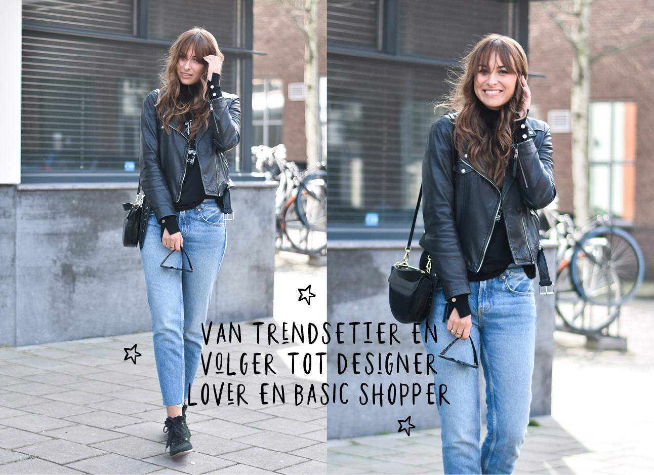 lilian brijl in een jeans met een leren jasje, bruin haar, op straat, lachend