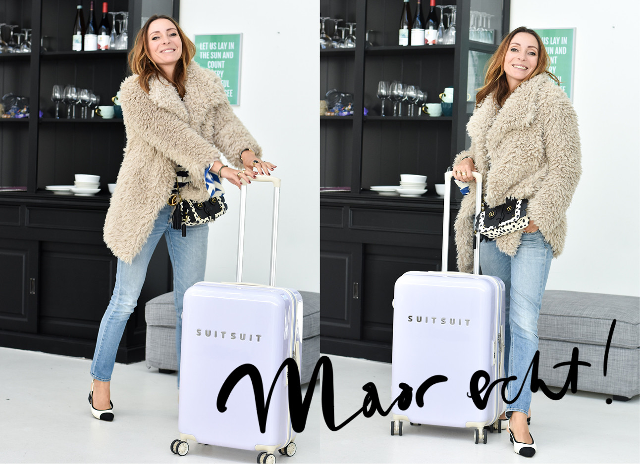 may-britt mobach draagt een bontjas en jeans, en loopt met een suitsuit koffer