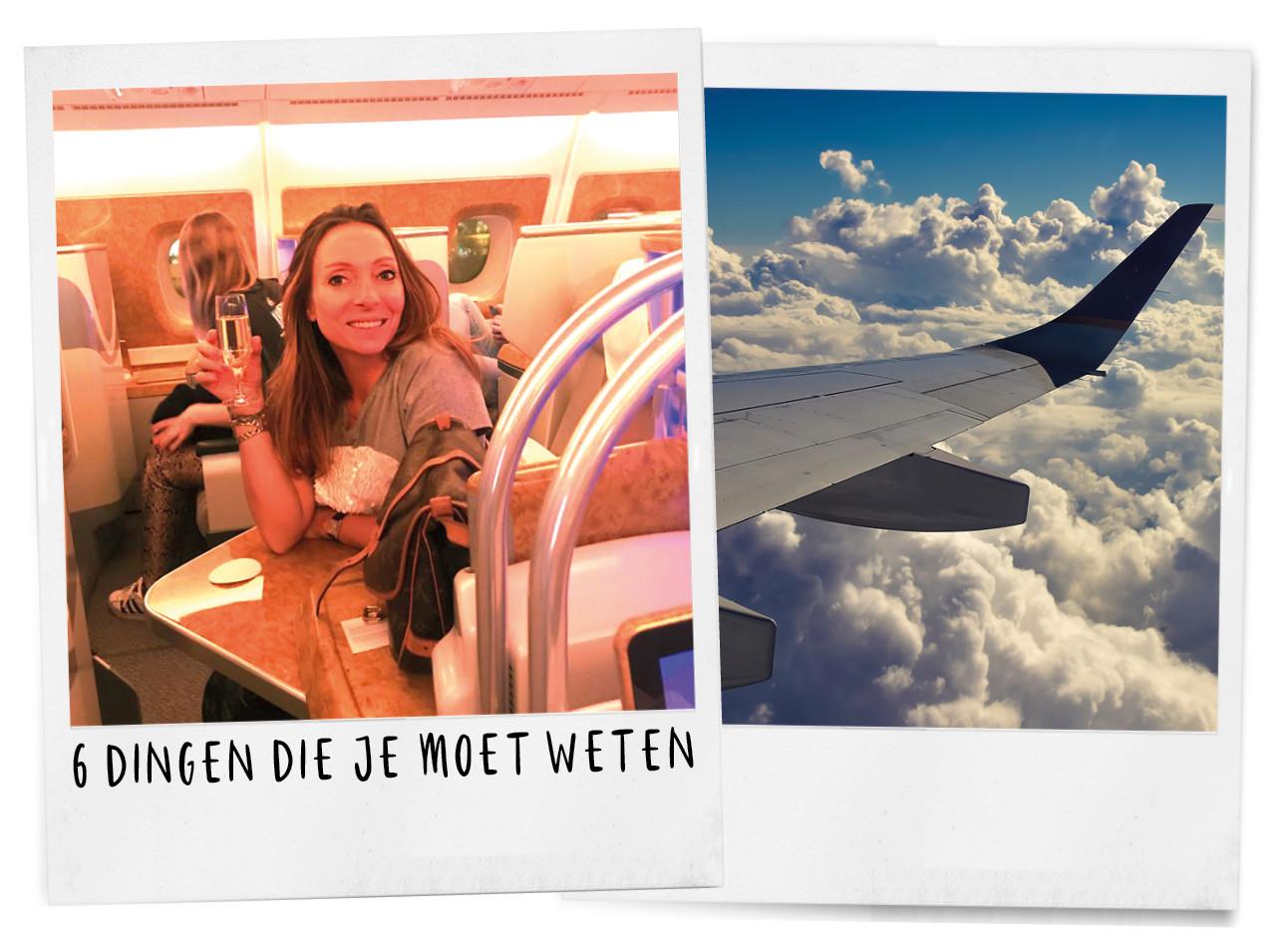 maybritt mobach in het vliegtuig naar dubai met vliegmaatschappij emirates en een glas champagne in haar hand, in de andere polaroid een vliegtuigvleugel en mooi uitzicht op de wolken, 6 dingen die je moet weten