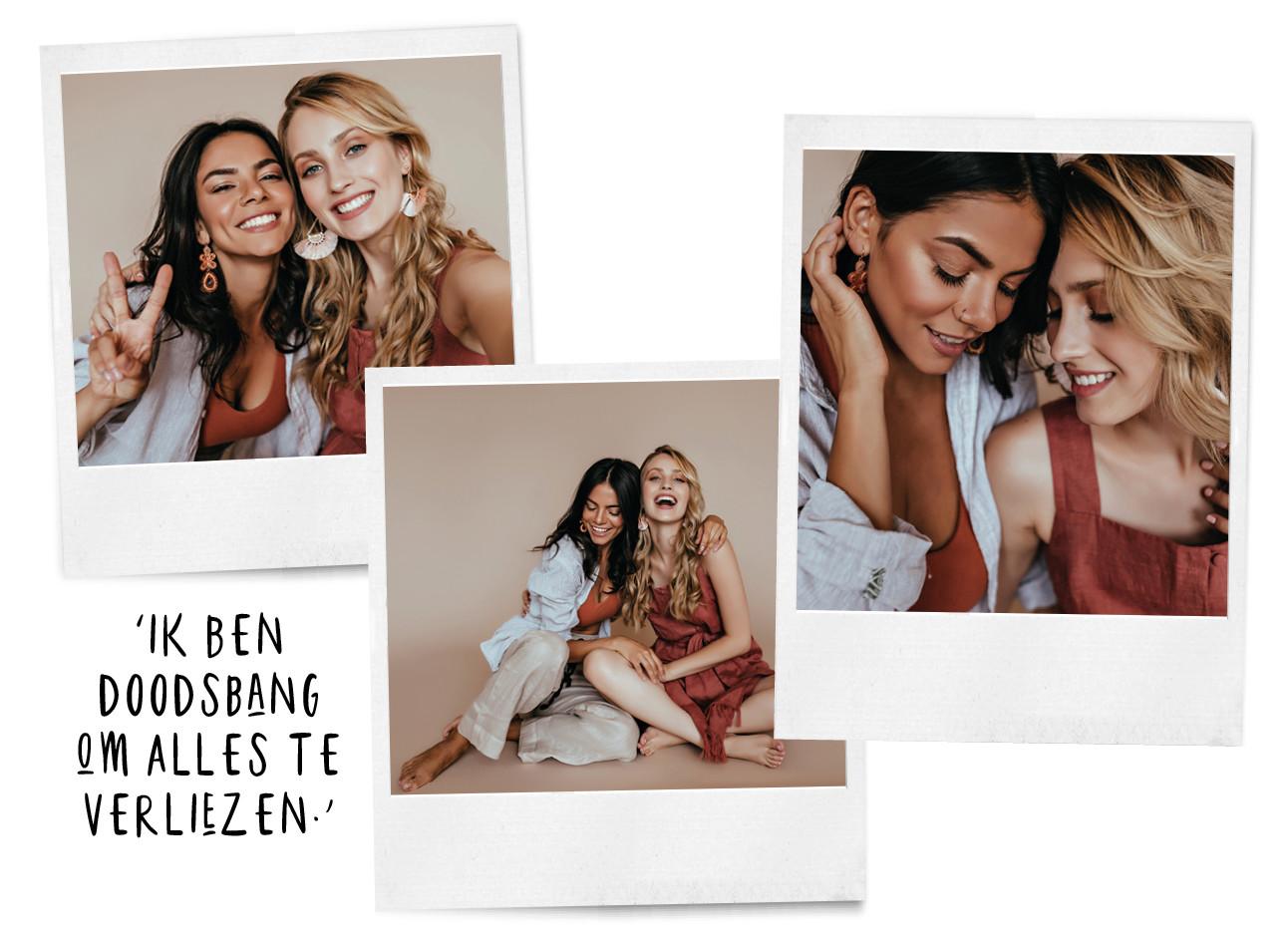 2 meiden knuffelend op de foto