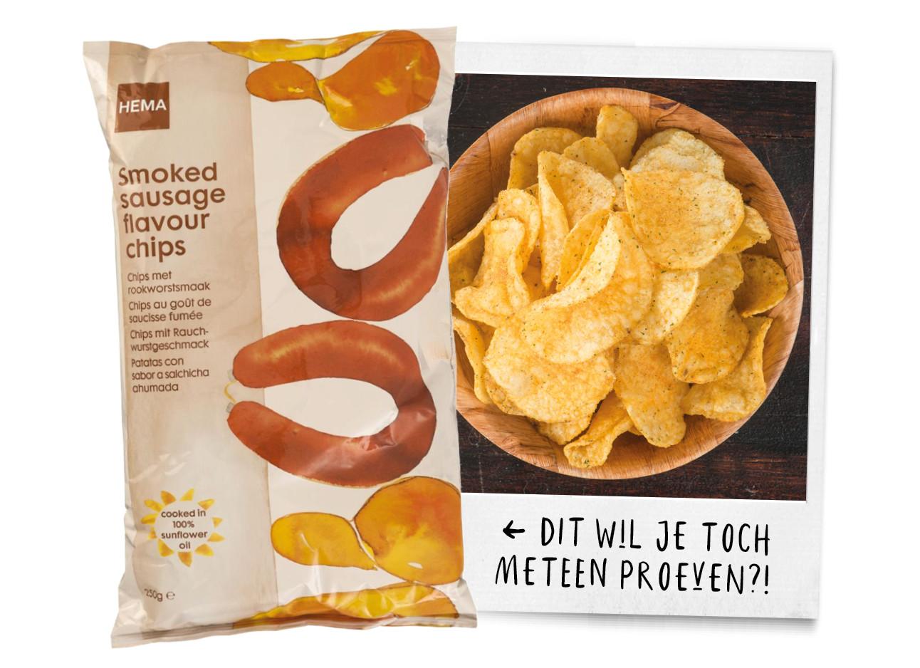 rookworst chips van de Hema