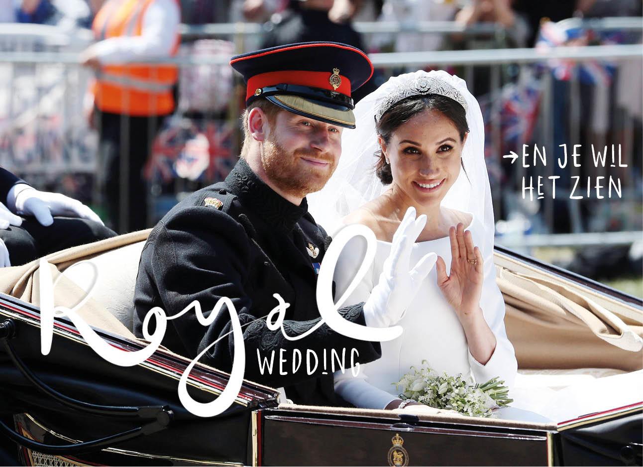 harry en meghan markle bruiloft lachend in een koets tijdens huwelijk