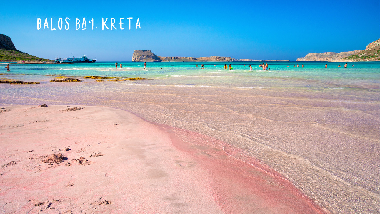 balos bay kreta, roze srand, blauwe zee, vakantie