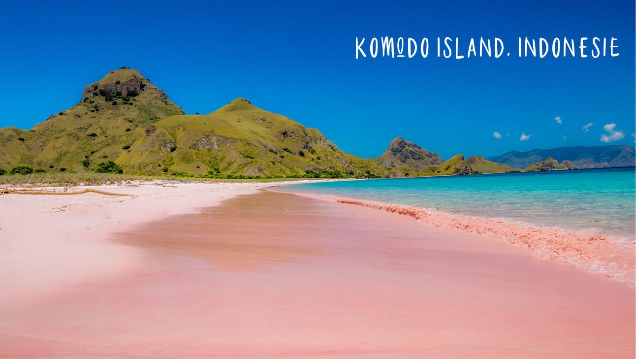 komodo flores island indonesie pink beach blue sea