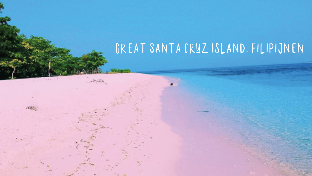great sanata cruz island pink beach, green, blue sky