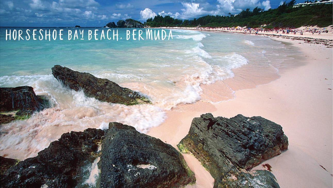 horseshoe beach, rocks, pink sand, blue sea shore