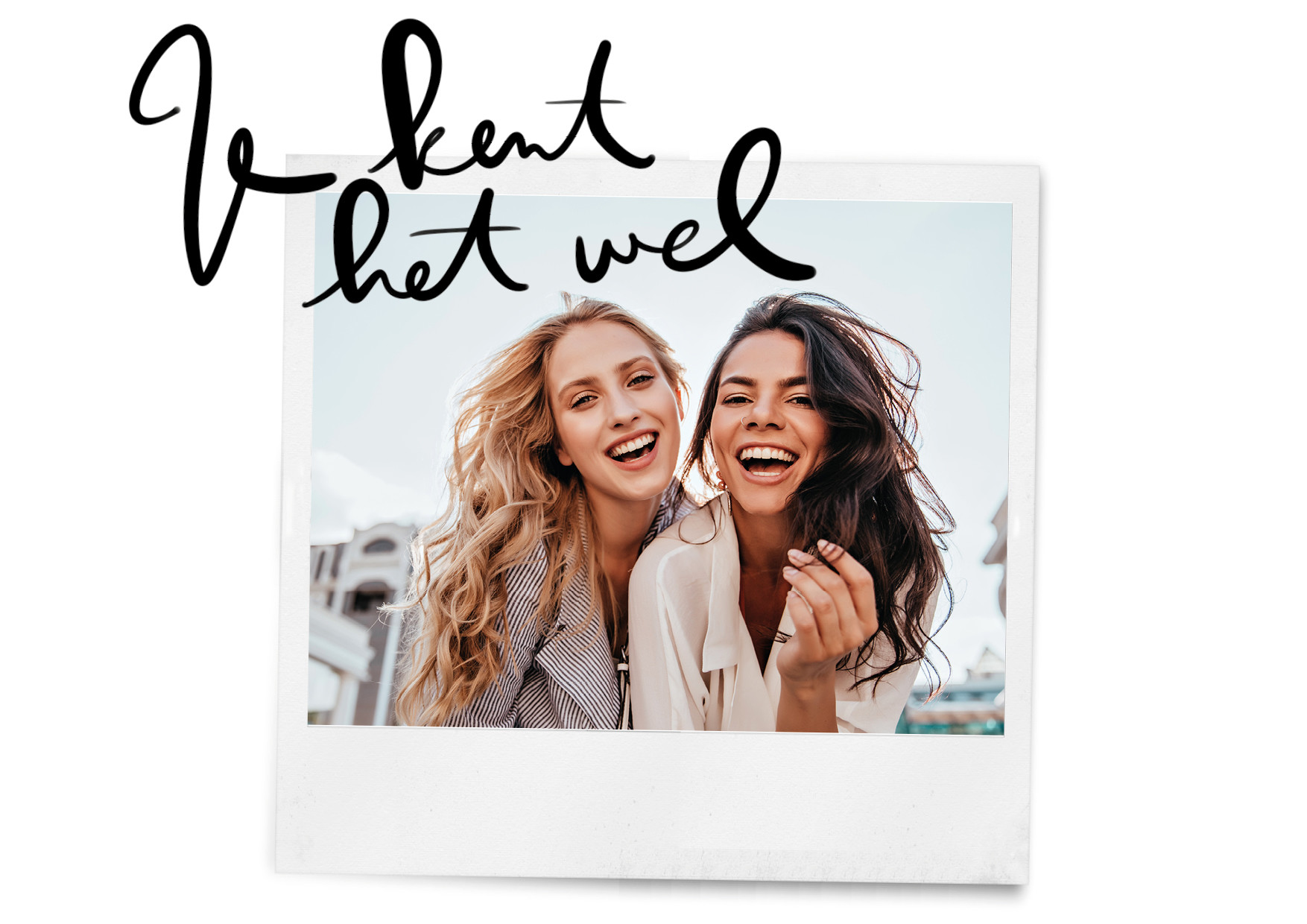 twee lachende vriendinnen in een polaroid