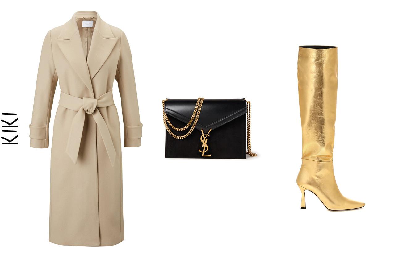 een jas een zwarte tas en gouden hoge laarzen