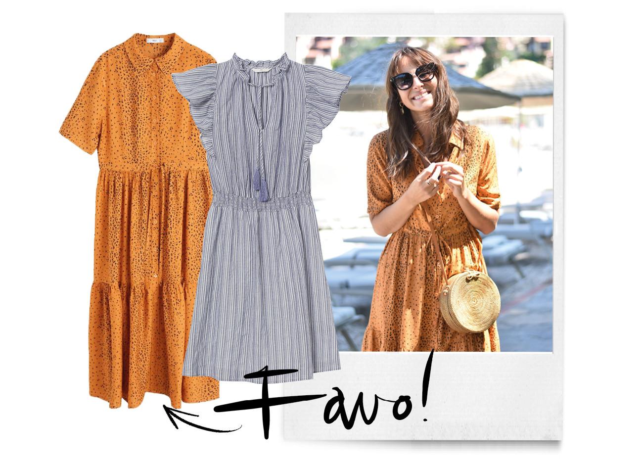 lilian brijl in een jurkje met een zonnebril, twee jurkjes als voorbeeld, polaroid