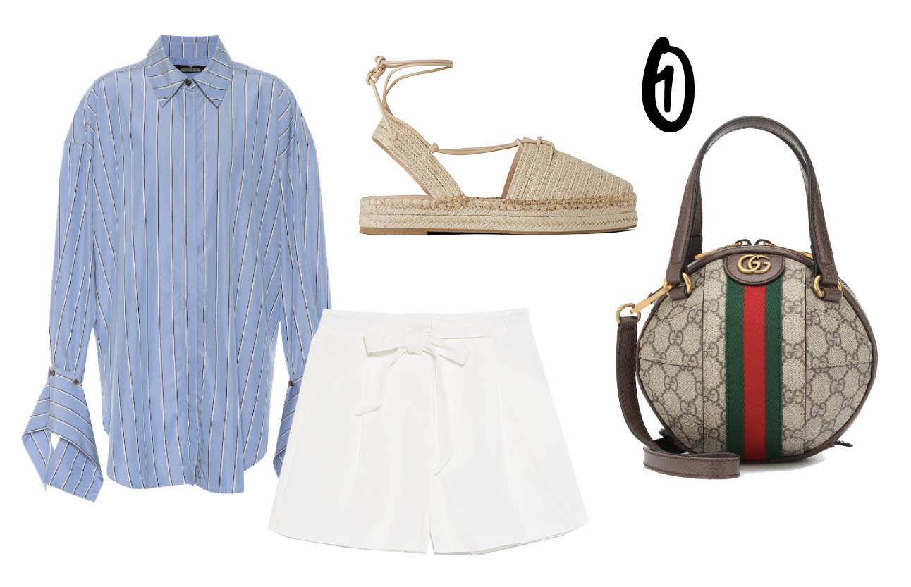 blauwe blouse met details op de mouw, witte bermuda shorts, tas van gucci, espadrilles